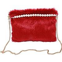 AutumnFall Women Fashion Handbag Pearl Plush Shoulder Bag Large Tote Ladies Purse (Red)