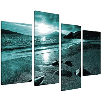 Large Teal Coloured Beach Landscape Canvas Wall Art Pictures   Set Of 4  Prints   Big