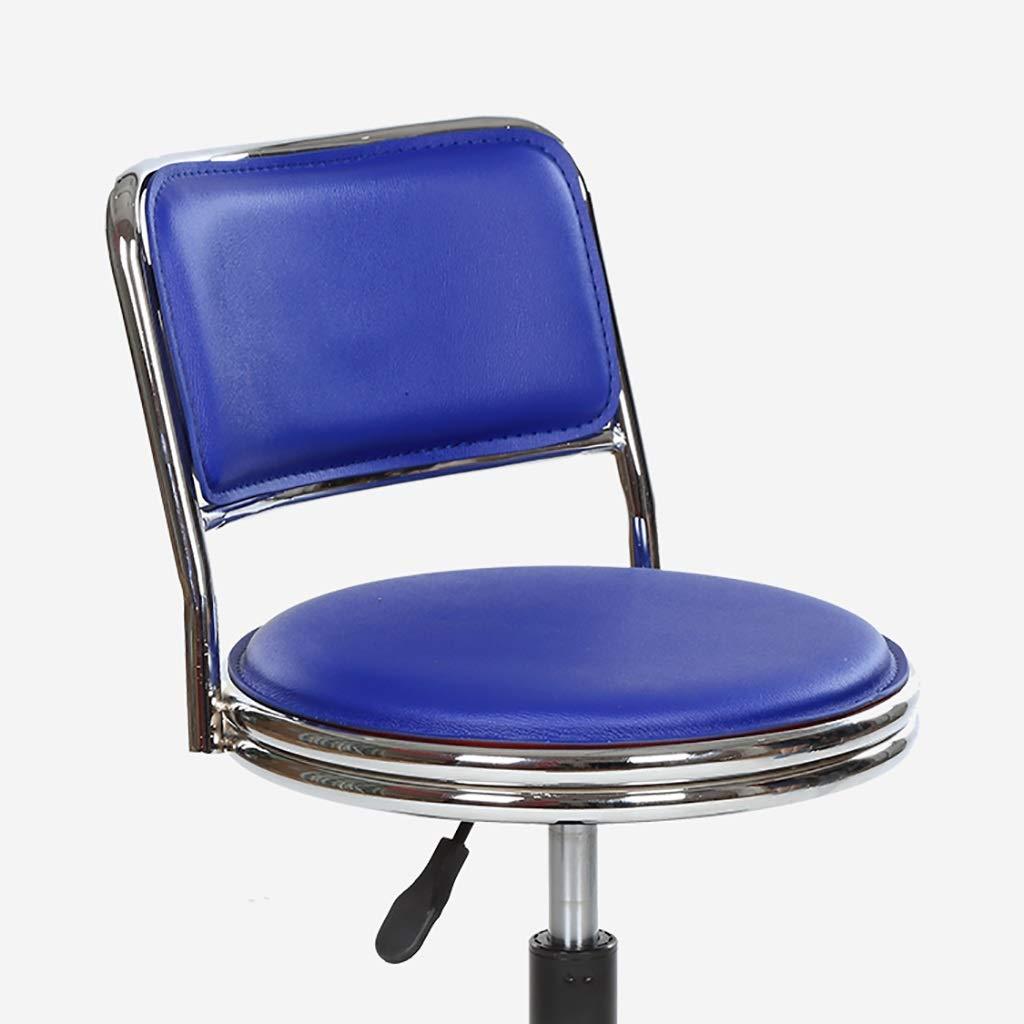 Color : Azul Taburete De Trabajo Peque/ño Silla De Trabajo NUBAOzy Taburete De SPA Silla De Cuero Mute Antideslizante Cl/ínica De Laboratorio Barber/ía Taburete Giratorio Elevaci/ón 45-55cm