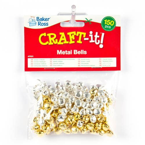 Baker Ross Gold /& Silver Jingle Bells for Children to add to Crafts or Create Jewellery Pack of 150