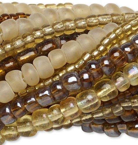 Glass 14' Strand - Twenty 14'', Strands Mixed Glass Seed Bead Mix Approximately 3,300-3,600 Beads