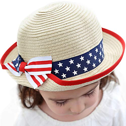 Urbancolor Unisex Summer Baby Girl Boy Straw Hat Beach Sun Cap with American Flag Pattern Bowtie Toddler Wide Brim Cap, Suit for 4T-8T -