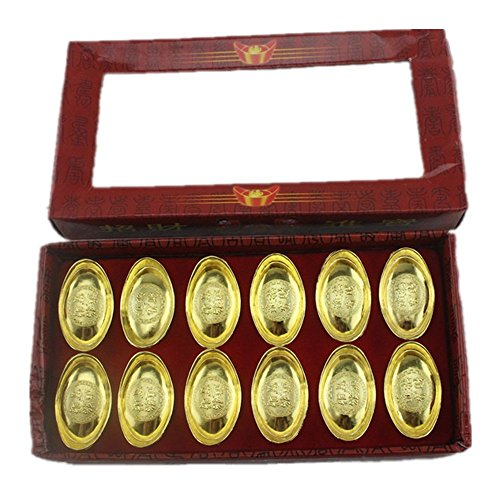 Muzuri Feng Shui Set of 12pcs Chinese Gold Ingot/Yuan Bao Decoration for Wealth + Free Handmade Adjustable Luck Red String Bracelet