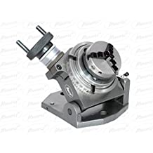 """New 4""""(100 mm) Tilting Rotary Table + 65 mm Chuck Self Centering+Back Plate+ Tnuts for Milling Machines"""