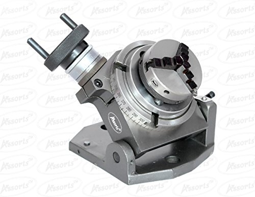 New 4''(100 mm) Tilting Rotary Table + 65 mm Chuck Self Centering+Back Plate+ Tnuts for Milling Machines by Global Tools