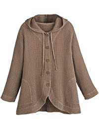 Women's Hooded Tunic Jacket - Button-Front Waffle Weave Sweater