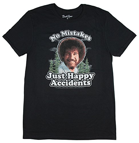Bob Ross Mens Distressed No Mistakes Just Happy Accidents T-Shirt (Black, Small)