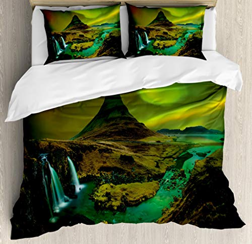 Ambesonne Aurora Borealis Duvet Cover Set King Size, Pale Weather Over The Hills with Waterfall Creek Nature Landscape, Decorative 3 Piece Bedding Set with 2 Pillow Shams, Fern and Olive Green