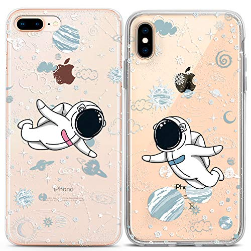 Lex Altern iPhone Case Xs Max X Xr 10 8 Plus 7 6s 6 SE 5s 5 TPU Space Cute Couple Astronaut Clear Planet Gift Kawaii Girlfriend Outer Phone Bestie Friend Cover Stars Print Protective Her Him Universe