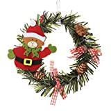 BaoST 15cm Creative Santa Snowman Door Window Hanging Ornaments Christmas Decorated Pine Wreath Artificial Garland Decor Gifts Holiday Wreath for Christmas Party Decoration Bear