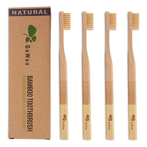 GoWoo Bamboo Toothbrush, 100% Natural, Organic, eco Friendly, Toothbrushes With Soft Nylon Bristles, BPA-Free, From earth to earth, Dental Care Set for Men and Women, Pack Of 4, Beige - D&g Number 1