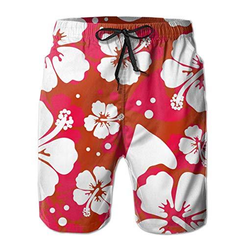 - SARA NELL Men's Swim Trunks Hawaiian Hibiscus Flower Surfing Beach Board Shorts Swimwear