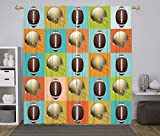 Polyester Window Drapes Kitchen Curtains,Football,Colorful Squares Mosaic Pattern with Protective Helmets and Balls College Activity Decorative,Multicolor,Living Room Bedroom Kitchen Cafe Window Drape