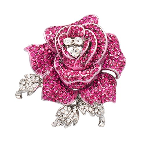 SEPBRIDALS Rose Flower Brooch Pin with Rhinestone for Women Birdal Girl Prom Jewelry (Pink) ()