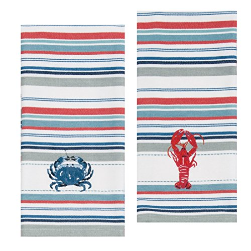 Kay Dee Designs Lobster & Crab Stripe Embroidered Towel ()