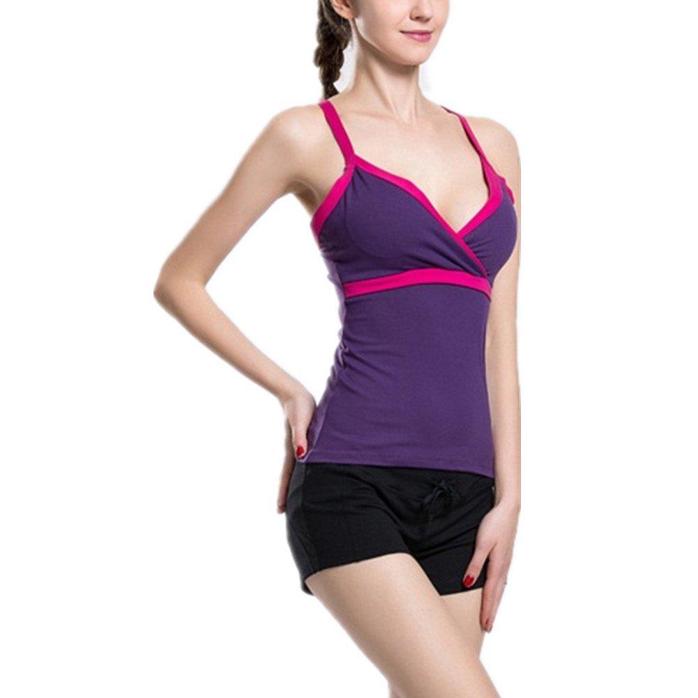 Lorsoul Women's Sports Yoga Fitness Racerback Tank Top Padded Built in Bra Running Sleeveless Vest (Small, Purple)