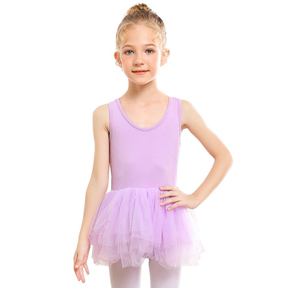STELLE Ballet Dress Leotard Girls Toddlers Dance Skirt, Tag110 (5-6Y), Purple