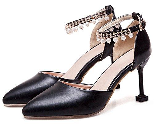 Idifu Donna Elegante Perline Tacchi A Spillo Alti Cinturino Alla Caviglia D-orsay Pumps Scarpe Nere