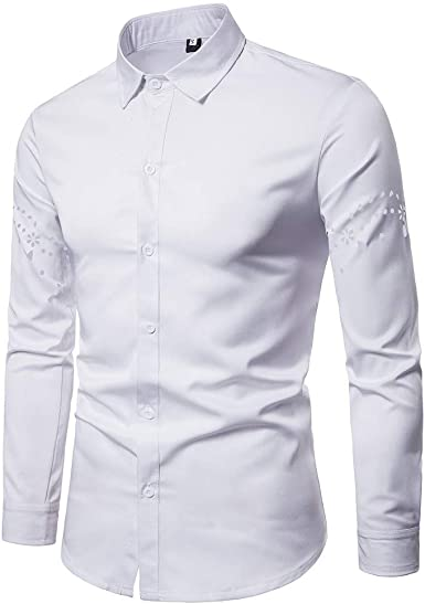 Camisas Hombre de Vestir Manga Larga Camisa Informales Transpirable Hueco de Oficina Blusa Cuello Clásico Regular Fit Personalidad Tops Casual: Amazon.es: Ropa y accesorios