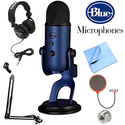 Blue Microphones Yeti USB Microphone Midnight Blue (Yeti Midnight Blue) + Professional Headphones + Suspension Boom Scissor Arm Stand + Microphone Wind Screen + Mic Stand Adapter + Microfiber Cloth - Multi Directional Fibers