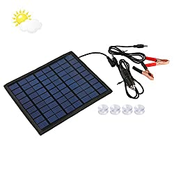 Qlhshop Powerful 12V 5W Watt Portable Solar Panel Battery Charger for Car Boat SUV Home