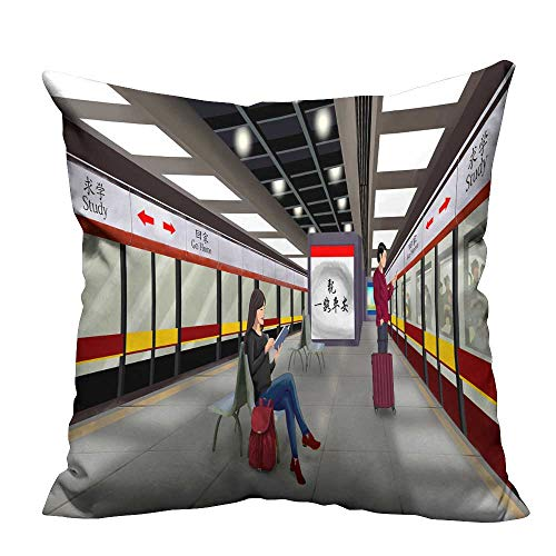 Throw Pillow Cover for Sofa The Men and Women of The Subway Station Textile Crafts 21.5x21.5 inch(Double-Sided Printing)