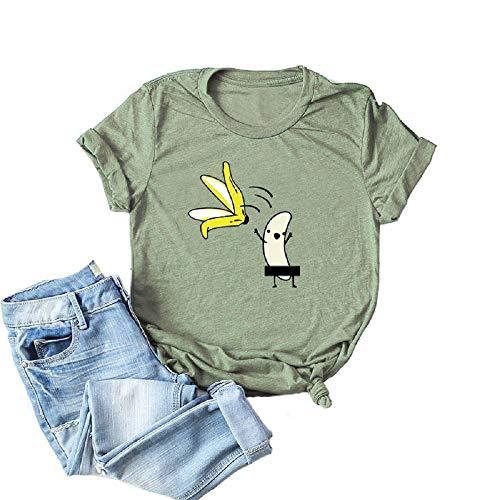 Women's Short Sleeve Cute Funny Naked Banana Striptease Cartoon Print Graphic Shirt Tee(Run 3 Size Small) (L, Army Green) -