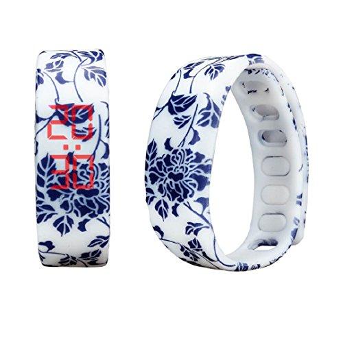 Malltop LED Floral Watch, Unisex Rubber Bracelet Water Resistant Touch Screen Sports Wrist Watch