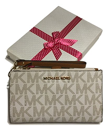 fed7a1f19296a MICHAEL Michael Kors Jet Set Travel Double Zip Wallet Wristlet (Signature  MK Vanilla Acorn