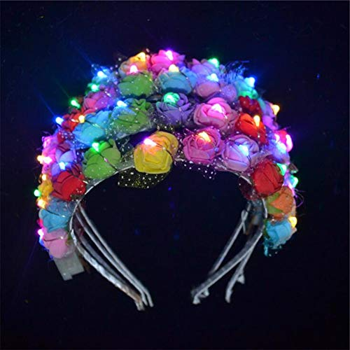 10Pcs Flower Headband,LED Light Up Flashing Glow Hairbands,Women Girls Costume Headband Blinking LED Glow Hair Band Ornaments for Night Clubs, Event Favors,Concert Party,Halloween,Christmas,Wedding]()