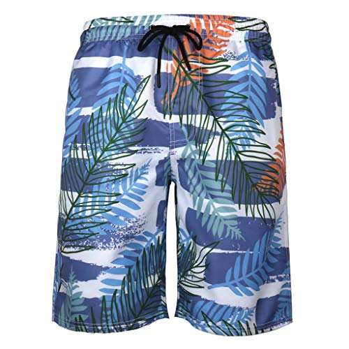 IHGTZS Trousers for Men, 2019 Summer Labor Day Lightweight Comfort Stretch Oxford Short with Elastic Waist and Pockets Mens Summer Swim Trunks 3D Print Graphic Casual Athletic Beach Short Pants Blue