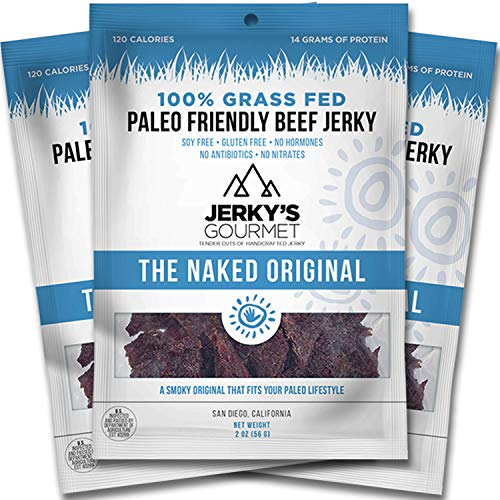 Naked Grass Fed Beef Jerky - 120 Calorie Snacks, Gourmet Healthy Low Carb, High Protein - Keto Friendly, Paleo Friendly, Soy Free & Gluten Free (3 Packs)