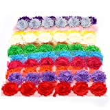 Md trade 72 Pieces Chiffon Fabric Shabby Chic Flowers for DIY Roses Frayed Trim Tulle Flower ,12 Colors