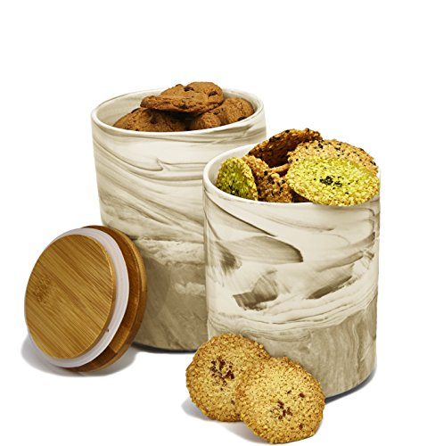 2pc Porcelain Kitchen Canister Set with Bamboo Lids 6.5 Inches Tall Holds 40 oz - Medium Desert Brown Marble Containers with Airtight Seal – Sugar, Coffee, Flour or Food Storage Jar