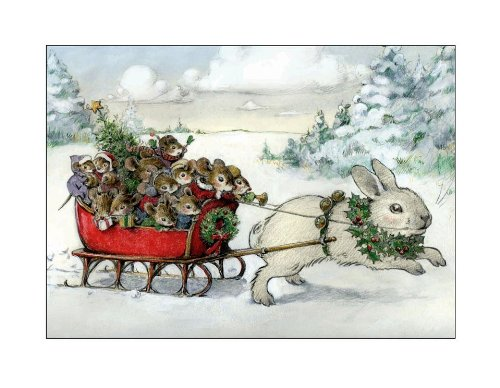 Wee Forest Folk Note-8 Bunny Christmas Note Cards Set of -