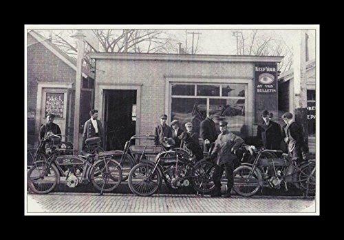 8 x 10のすべての木製額入りフォトold-bikes Harley Davidson 1900年代初期   B078HPYVG8
