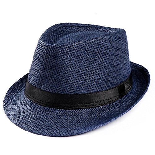 Price comparison product image Summer Straw Panama Fedora Hat for Women and Men, Cleanrance! Iuhan Unisex Trilby Gangster Cap Beach Sun Straw Hat Band Sunhat (Navy)