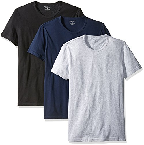 Emporio+Armani+Men%27s+Cotton+Crew+Neck+T-Shirt%2C+3-Pack%2C+Grey%2FNavy%2FBlack%2C+Medium