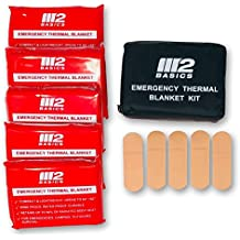 M2 BASICS Emergency Mylar Thermal Blanket Kit (Includes 5 Foil Space Blankets) w/Bag + FREE Bandages & First Aid Guide