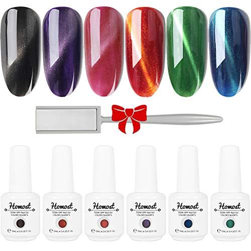 Homost 3D Cat Eye Gel Nail Polish Set, 6 Colors UV LED Gel Nail Polish Kit, Starter Gel Nail Manicure DIY Kit ()