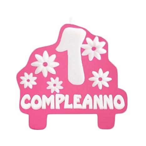 Candelina Rosa Sagomata 1 St Birthaday Buon Compleanno 1 Anno Primo