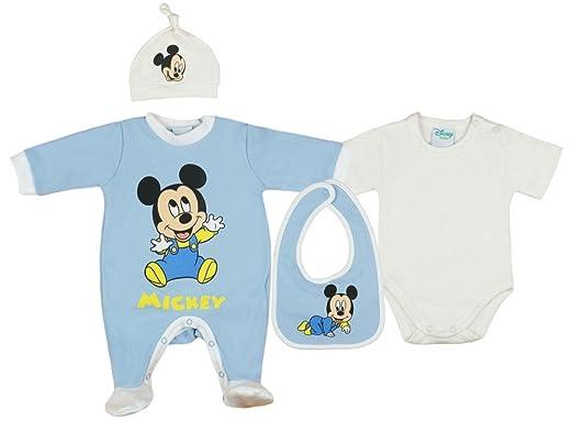56 62 68 NEU Baby Jungen Set 3-teilig Strampler Mütze Latz Disney Gr