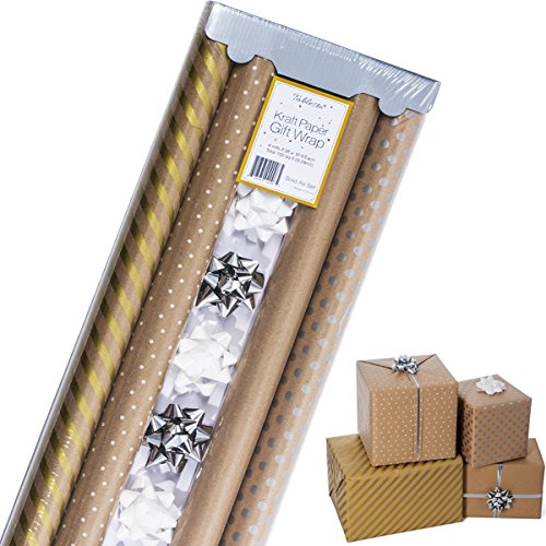 Kraft Wrapping Paper with Polka Dots and Patterns – All Occasion Gift Wrap – Gold Kraft Wrapping Paper - Premium Gift Wrap, 4 Rolls - 2.5 ft x 10 ft - Wrap Present