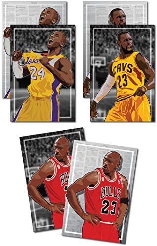 3 Posters of NBA G.O.A.T. - Michael Jordan, Kobe Bryant, LeBron James Art Prints - Buy 1 Get 2 Free, 3 total prints (2-sided) (Medium Set - - Get Oakley Buy One One