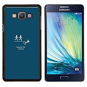 Qstar Arte & diseño plástico duro Fundas Cover Cubre Hard Case Cover para Samsung Galaxy A7 A7000 (Follow The Leader - Funny Lemming)