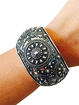 Activity Tracker Bracelet for Fitbit Flex, Fitbit Surge, Fitbit Charge, Charge HR, Jawbone Move, Jawbone Up, Pebble Smart Watch or VivoFit - The MELISSA Antiqued Silver Engraved Bangle Fitness Tracker Bracelet