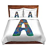 Duvet Cover Brushed Twill Twin DiaNoche Designs Unique Home Decor Bedding Ideas by Dora Ficher - Letter A