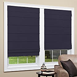 Cordless Room Darkening Fabric Roman Shade (Navy, 31x64)