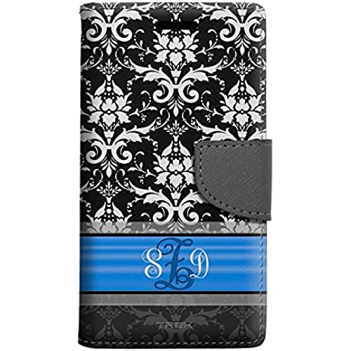 Monogram Samsung Galaxy S7 Edge Wallet Case - White Damask on Black with Blue Ribon Sales