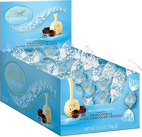 Lindt LINDOR Stracciatella White Chocolate Truffles, Kosher, 60 Count Box, 25.4 Ounce]()